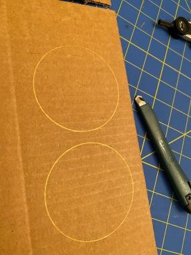Day62 MAC Circles on cardboard