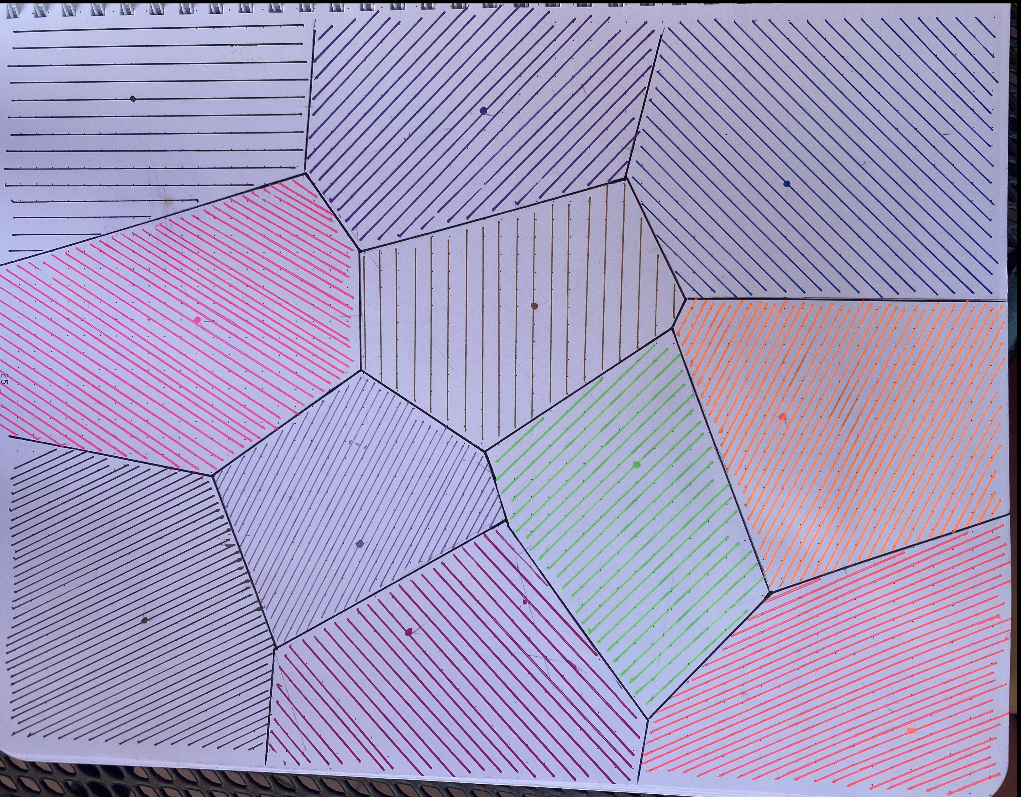 Voronoi Diagram Sketched in Notebook